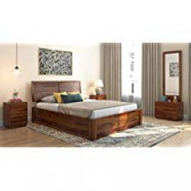 WoodWingss Jakob Queen Size Bed with Hydraulic Storage (Teak) for Rs. 38,099