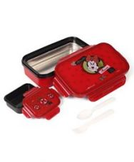 Flat 32% off on Disney Minnie Mouse Lunch Box With Spoon And Fork - Red