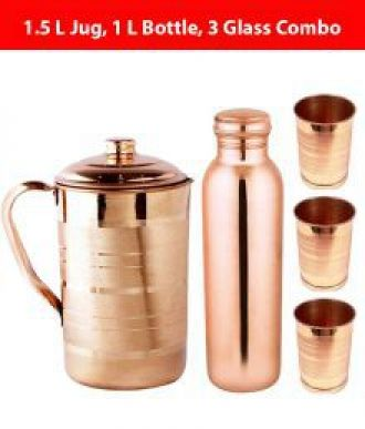 Buy KC Brown 1000 ml Copper Water Bottle, 1500 ml Water Jug and 3 Glass Combo from SnapDeal