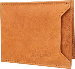 Flat 75% off on Kraasa Men Casual Tan Genuine Leather Wallet