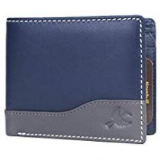 Buy Hornbull Buttler Mens Navy Genuine Leather RFID Blocking Wa for Rs. 584