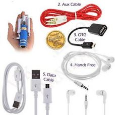 KSJ Combo of BW Selfie Stick, Aux Cable, Data Cable, Otg Cable and Universal Handfree (Assorted Colors) for Rs. 199