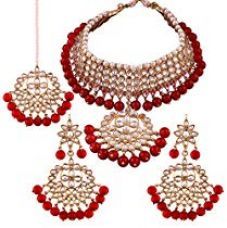 Buy I Jewels Traditional Kundan & Pearl Choker Necklace Set for for Rs. 599