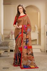 Brown-crepe-printed-designer-saree-with-unstitched-blouse-material for Rs. 590
