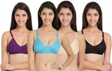 Buy Women's Multicolor Plain Cotton Lycra Non-Padded Bra (Pack of 4) - (Color May Vary) from ShopClues