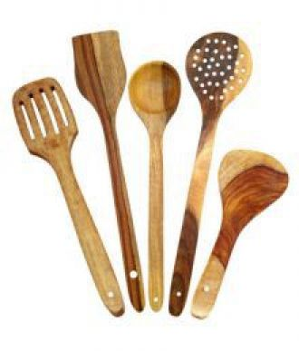 KC Handmade Pine Wood Serving and Cooking Spoon Kitchen Tools Utensil, Set of 5 for Rs. 125