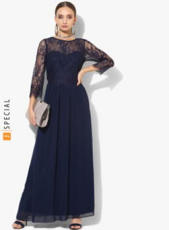 Buy DOROTHY PERKINS Navy Blue Self Design Maxi Dress from Jabong