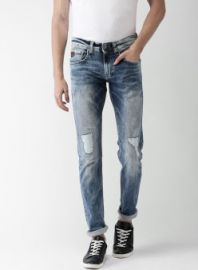 Buy Celio Blue Slim Fit Mid-Rise Mildly Distressed Stretchable Jeans from Jabong