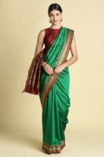 Green-color-silk-blend-zari-border-designer-saree-with-blouse-piece for Rs. 1422