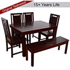 Furny Della Solid Wood (Teak Wood) 6 Seater Dining Table for Rs. 22,999