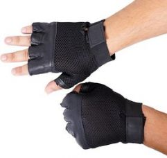 Flat 84% off on Black Leather Gym Gloves - Free Size (High Quality)