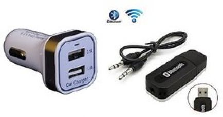 Flat 73% off on Combo for USB Dual Car Charger with Bluetooth Device