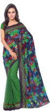 Buy Anand Sarees Multicolor Georgette Printed Saree With Blouse from ShopClues