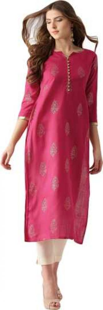 Flat 45% off on Women Colorblock Straight Kurta