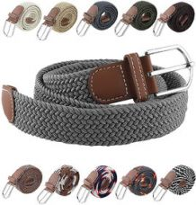 Buy Canvas Woven Leather Strechable Pin-Hole Buckle Belt up to 44 inches for Rs. 159