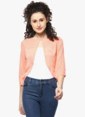 Buy Mayra Peach Solid Shrug from Jabong
