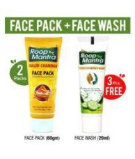 Get 24% off on Roop Mantra Haldi Chandan Face Pack 60gm X 2 + FaceWash 20mlX3 Face Pack 60gm gm