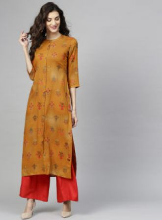 Libas Mustard Brown & Red Printed Straight Kurta for Rs. 674