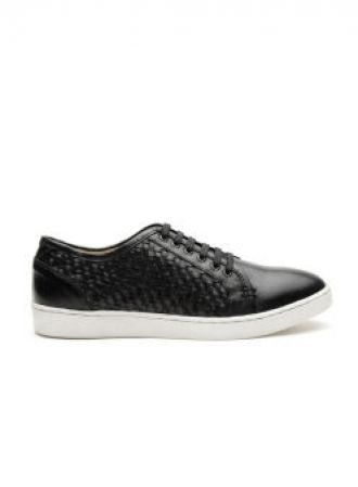 Carlton London Black Basketweave Texture Leather Sneakers for Rs. 1748