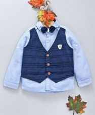 Buy ZY Baby Striped Full Sleeves Shirt With Mock Waistcoat & Bow - Blue for Rs. 427