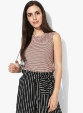 Vero Moda Pink Striped Tank Top for Rs. 404